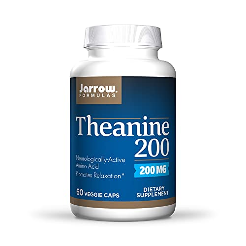 Jarrow Formulas Theanine 200 mg, Neurologically Active Amino Acid, Found in Green Tea, Promotes Relaxation, White, 60…