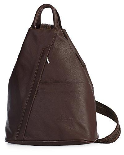LIATALIA Unisex Soft Italian Leather Convertible Strap Small Backpack Rucksack Duffle Bag - ALEX Dark Tan