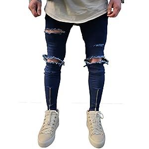 XARAZA Men's Ripped Slim Fit Jeans Denim Pants with Broken Holes