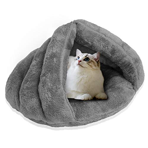 Warming Cat Beds for Indoor Cats Small Dog Bed Kitten Bed Cat Cave House Puppy Bed Cozy Cat Burrow Soft Plush Cat Dome Pet Supplies Triangle Nest Snooze Sleeping Warming Autumn Winter Comfortable