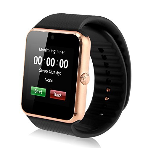 iRULU Newest SIM Card NFC Bluetooth Smart Watch Wristwatch Phone Mate Independent Smartphone, For Android (Black Band)