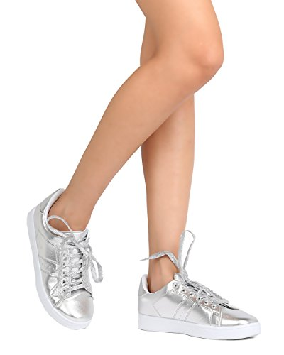 Refresh FG19 Women Metallic Leatherette Round Toe Lace Up Sneaker - Silver (Size: 7.0)