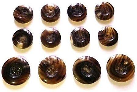 水牛ボタン スーツ コート用ボタン 貴重な茶色 ツヤ有り No.954 15mm8個.20mm4個 スーツ1着分セット