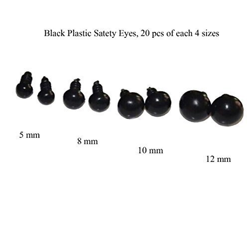Plastic Safety Eyes Black for Teddy Bears/dolls,20*4 Size,5/8/10/12mm, Sew 80pcs from Home Arts Leathercraft