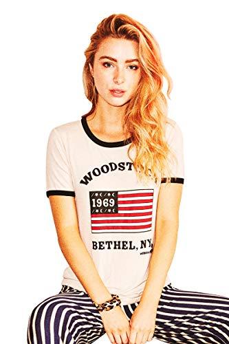 (Life Clothing Co. Women's Fashion Vintage Graphic Woodstock 1969 Bethel NY Ringer Tee (L) White)