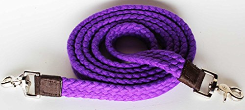 PRORIDER Roping Knotted Horse Tack Western Barrel Reins Cotton Braided Purple 60746