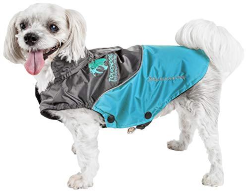 TOUCHDOG 'Subzero-Storm' Waterproof 3M Reflective Pet Dog Coat Jacket with Heavy-Duty Velcro w/ Blackshark Technology, Large, Sky Blue, Black