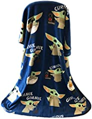 Disney Star Wars The Mandalorian The Child Baby Yoda Plush Travel Throw Blanket Blue 40x50 inch