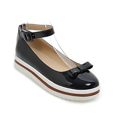 MEI&S Femmes Talon Plat Chaussures Bouche Peu Profondes à Fond épais Black Z26hg0nwh