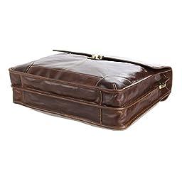BAIGIO Brown Genuine Leather Large Messenger Satchel Shoulder Briefcase Business Bag