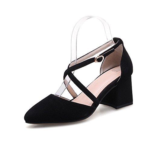 Schnalle VIVIOO Spitz Schuhe Quadratische Schuhe 6Cm Frauen Pumps Fersen Pumpsleder Schuhe Einfache Pumpen Sommer Damen Zehen Komfortable UPBgUf