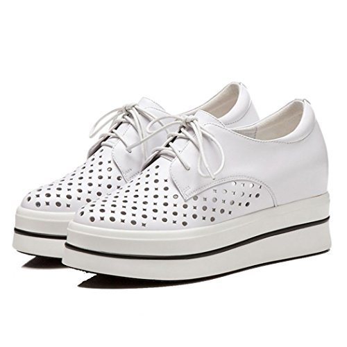 GAOLIXIA Zapatos de mujer Zapatos casuales de cuero Hollow Summer Sandalias transpirables Stealth Increase High Heels White Pink Blanco
