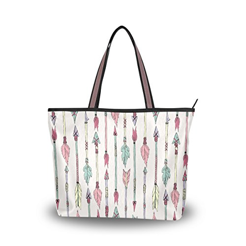 JSTEL Women Large Tote Top Handle Shoulder Bags Native American Arrows Patern Ladies Handbag by JSTEL