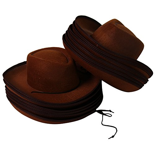 Dozen Kids Brown Felt Western Cowboy Hats