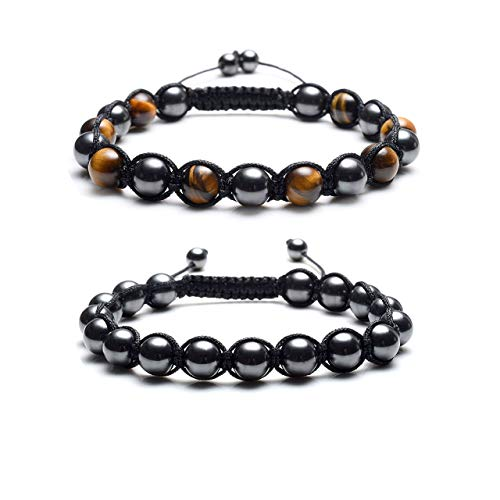 Jovivi Natural Tiger Eye Magnetic Hematite Healing Energy Beads Stretch Bracelets for Men Women Adjustable Macrame (Yellow Tiger Eye+Black Tiger -