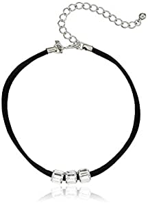 "Kenneth Jay Lane Black Choker with 3 Crystal Rhondelles Choker Necklace, 12"" + 4"" Extender"