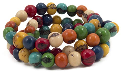 Stackable Bracelets Acai Berry Beads Ecuador Set of 3 Multi-Colored