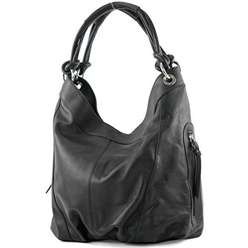 modamoda de - ital. Ledertasche Damenhandtasche Schultertasche Leder + Nappaleder Z18 Schwarz UNsq1Xzb4