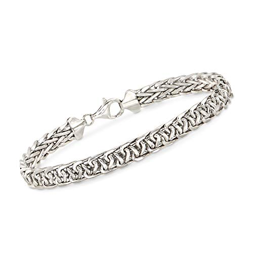 Ross-Simons 14kt White Gold Wheat-Link Bracelet