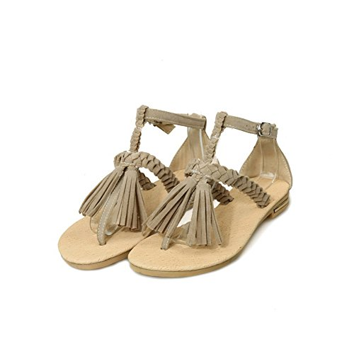 WeenFashion No Sandals Split Solid Women's apricot Flip Flop Heel Frosted Buckle Toe XwAfXr