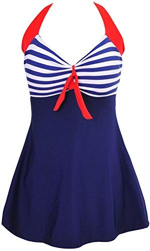 DANIFY women 's One Piece Vintage Sailor Pin Up Bathing Suits Cover up Swim Dress 2XL(US14) 1-Blue