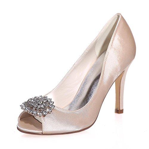 L@YC Frauen Hochzeit High Heels Seide Peep Toe / Party / Plattform Nacht & More Farben 5623-17 Champagne
