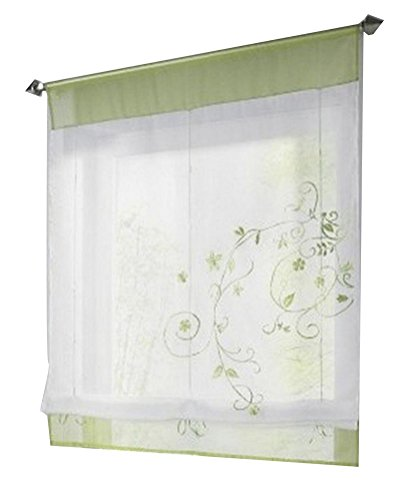 1pcs Country Style Floral Embroidery Roman Shades Ribbon Adjustable LivebyCare Tulle Tab Top Rod Pocket Sheer Balcony Window Curtain for Bedroom (Lightweight Drapes)