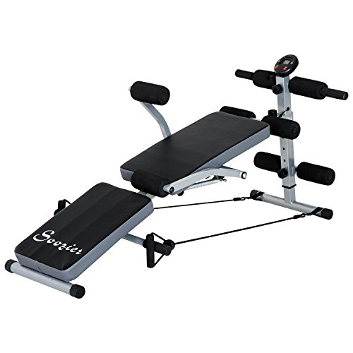 Soozier Multi-Position Abdominal Sit-up Bench Adjustable Home Gym with LCD Monitor by Soozier