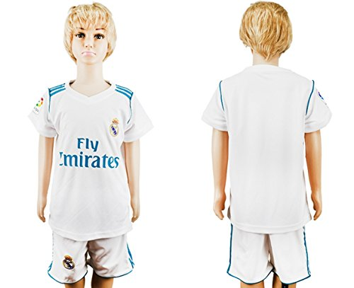 SPOFASH Youth Real Madrid Soccer Jersey and Shorts Suit Fan Replica Uniform Soccer Kit For Kids- White (Medium(8-9Y))