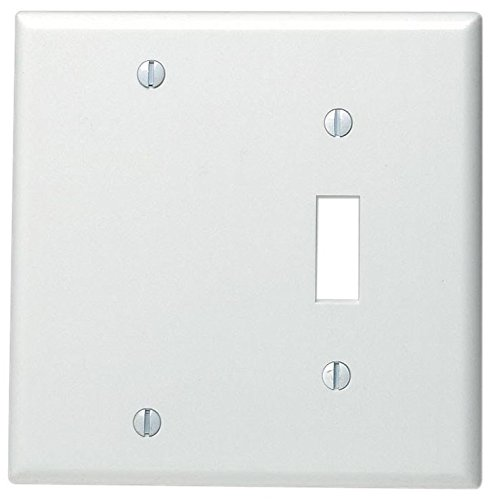 Leviton 88006 002-000 1-Toggle 1-Blank Standard Size Wall Plate, 2 Gang, 4.5 in L X 4.56 in W 0.22 in T, Standard White