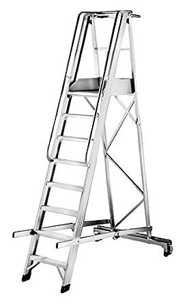 AUK CJ173-08 - Escalera plegable para almacenaje (aluminio, 8 peldaños, 3150 mm de altura x 1170 mm de ancho x 1920 mm de profundidad): Amazon.es: Industria, empresas y ciencia