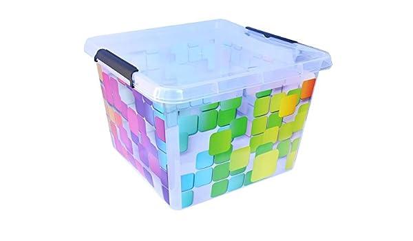 Juguete Caja Caja para juguetes Caja Caja búho 18L – 36L cuadrado de plástico, Quadrat, 32L (39x39x27 cm): Amazon.es: Hogar