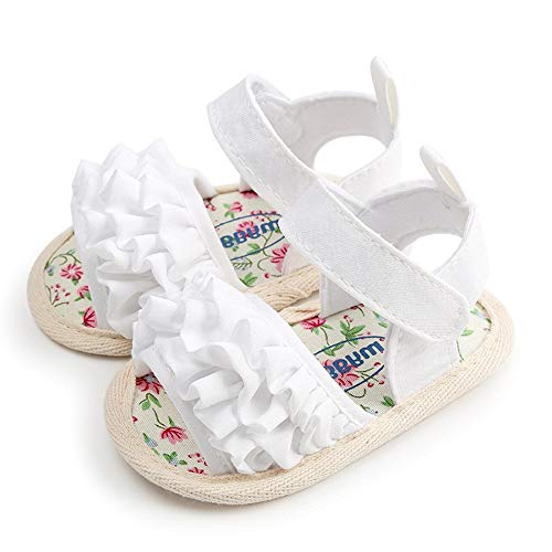 Mybbay Infant Baby Girls Cute Sandals Soft Sole Summer Princess Dress Bowknot First Walker Shoes (12-18 Months M US Toddler, White) -