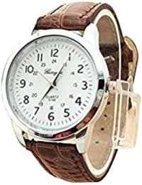Clearance! Charberry Mens Simple Watch Elegant Analog Luxury Sports Leather Strap Quartz Watch (G)