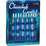 : Hanukkah Blue and White Stripe 9mm Candles 45ct