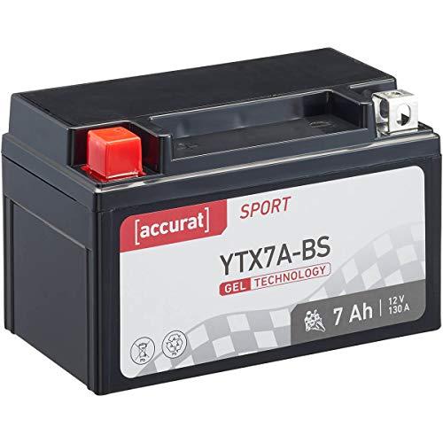 Accurat motorfietsaccu YTX7A-BS 7 Ah 130 A 12V gel-technologie startaccu in OEM-kwaliteit cyclusvast veilig opbergbaar…