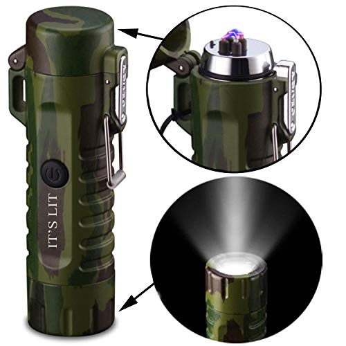 (Roman Ventures Double Plasma Lighter with Built in LED Flashlight- Electric Double Arc Splash Proof Lighter- Windproof Electric Lighter- Rechargeable- Gift Box & One Year Warranty Card)
