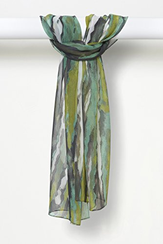 Three-Color Light Sprays Pure Silk Chiffon Scarf in Chartreuse Charcoal White by Louis Jane  (''Where Nature Meets Art''TM)