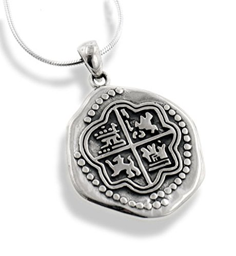 Antiqued Sterling Silver Stamped Pirate Treasure Chest Coin Medallion Pendant 18