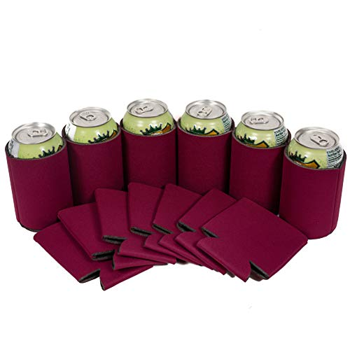 QualityPerfection 25 Burgundy Party Drink Blank Can Coolers(12,25,50,100,200 Bulk Pack) Blank Beer,Soda Coolies Sleeves | Soft,Insulated Coolers | 30 Colors | Perfect For DIY Projects,Holidays,Events for $<!--$13.95-->