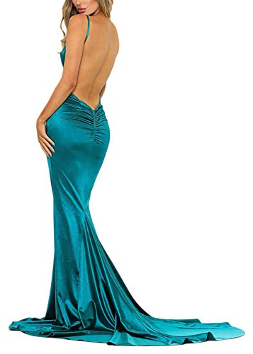 - Ohvera Women's Satin Spaghetti Strap Backless V Neck Cocktail Evening Prom Gown Maxi Long Dress Green Small