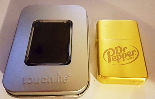 (Doctor Dr. Pepper Promo Flip Top Lighter with etched logo and window tin case)