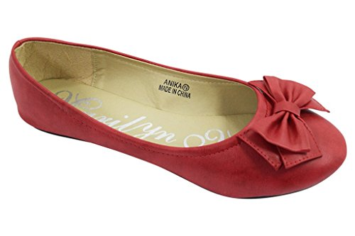 Marilyn-Moda-Rockabilly-Pinup-Red-Bow-Round-Toe-Ballet-Slip-On-Flat-Shoes