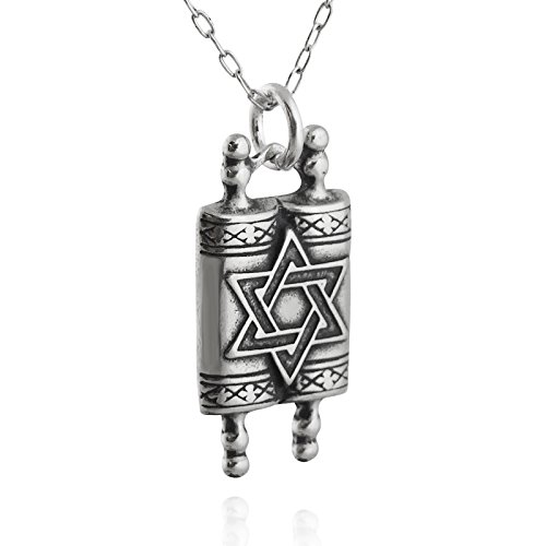 Sterling Silver 3D Torah Scolls Pendant Necklace, 18
