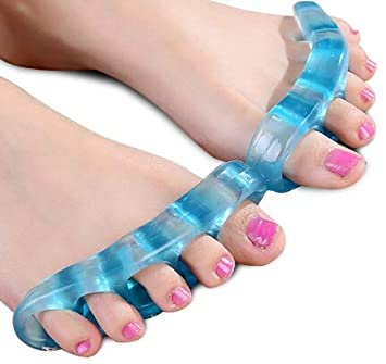 Bicameral Toe Separators - Yoga Gel Toe Stretchers - Bunion Relief for Men & Women - Spacers Straighten and Correct Foot Alignment - BLUE - 1 Pair - ...