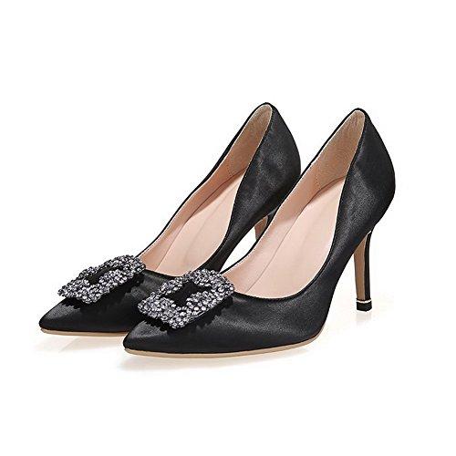 Amoonyfashion Womens Pull-on Puntige Dichte Neus Hoge Hakken Stevige Pumps-schoenen Black9cm