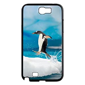 JFLIFE Penguin Phone Case for samsung galaxy note2 Black Shell Phone [Pattern-4]