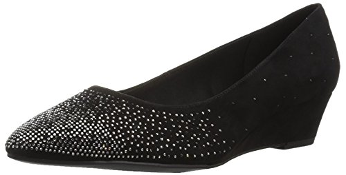 Anne Klein Women's Ellery Wedge Pump, Black Suede, 7 M US