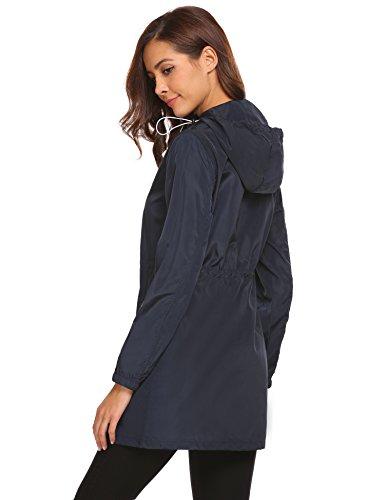 Donna Donna Parabler Parabler Parabler Navy Blu Maniche impermeabile Giacca lunghe r6wqrSI