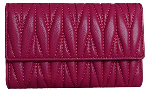 Lush Leather Lambskin Quilted Foldover Fuchsia Pink Wallet